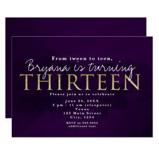 Purple Black & Gold 13 THIRTEEN 13th Party Card