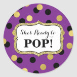 Purple Black Gold Baby Shower Ready to Pop Classic Round Sticker