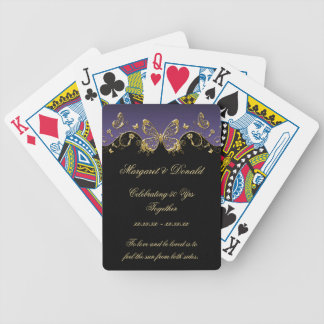 Purple Black Gold Butterflies 50th Wedding Bicycle Playing Cards