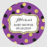 Purple Black Gold Confetti Baby Shower Favor Tag