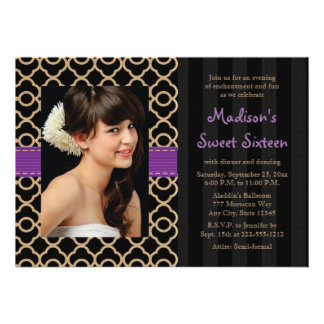 Purple Black Gold Moroccan Sweet Sixteen Photo Personalized Announcement