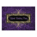 Purple Black Gold Womans Fiftieth Birthday Party Custom Invitation