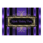 Purple Black Gold Womans Fiftieth Birthday Party Personalized Announcements