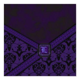 Purple & Black Goth Lace Wedding 5.25x5.25 Square Paper Invitation Card