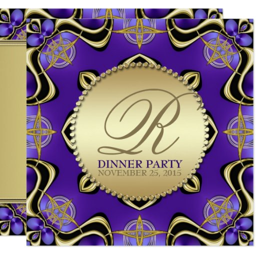 Purple Black Gothic Golden Dinner Party Invitation