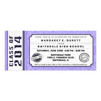 Purple & Black Graduation Party Ticket Invitation