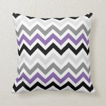 Purple Black Gray Chevron Zigzag Pattern Throw Pillow