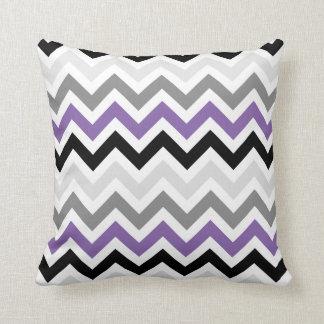 Purple Black Gray Chevron Zigzag Pattern Throw Pillow