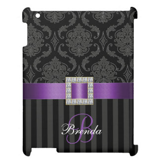 PURPLE, BLACK, GRAY DAMASK, YOUR MONOGRAM COVER FOR THE iPad