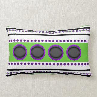 Purple black green stripes circles funky pillows