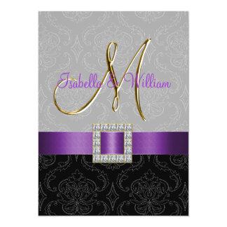Purple Black Grey Damask Initial Wedding Invite