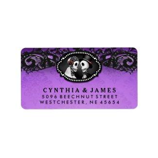 Purple Black Halloween Elegant Wedding Skeletons