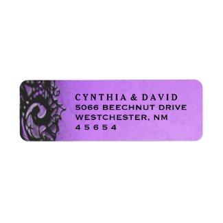 Purple Black Halloween Lace Wedding Address Label