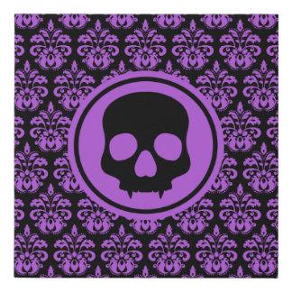 Purple black Halloween skull Faux Canvas Print