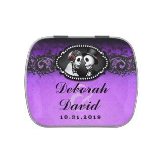 Purple & Black Halloween Wedding Skeletons Names