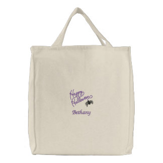Purple Black Happy Halloween Writing Spider Web Embroidered Tote Bag