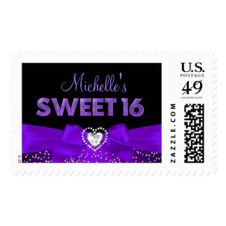 Purple & Black Heart Bow Sweet 16 Stamp