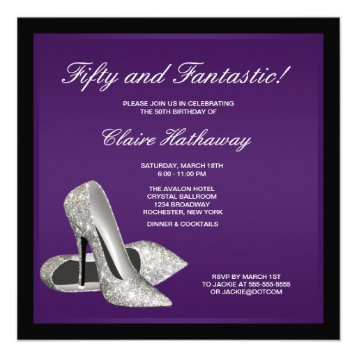 Purple Black High Heels Womans 50th Birthday Personalized Announcement