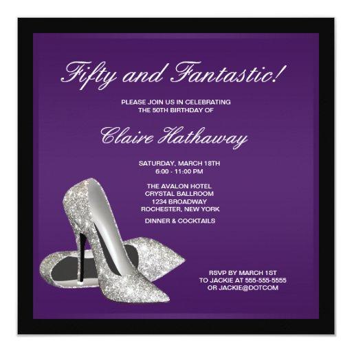 Purple Black High Heels Womans 50th Birthday 5.25x5.25 Square Paper Invitation Card