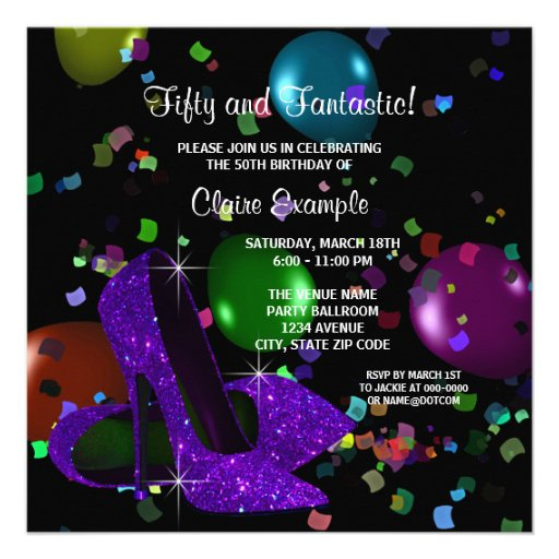 Purple Black High Heels Womans Birthday Party Personalized Announcements