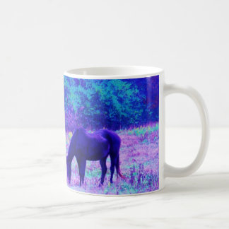 Purple Black Horse in Rainbow field Coffee Mug