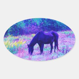 Purple Black Horse in Rainbow field Oval Sticker