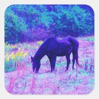 Purple Black Horse in Rainbow field Square Sticker