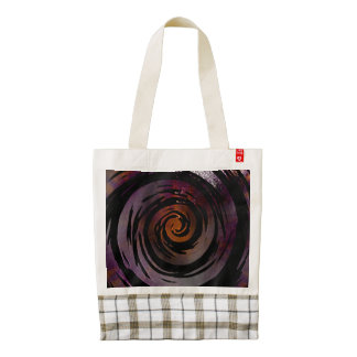 Purple & Black Hypnotic Swirl Art Zazzle HEART Tote Bag