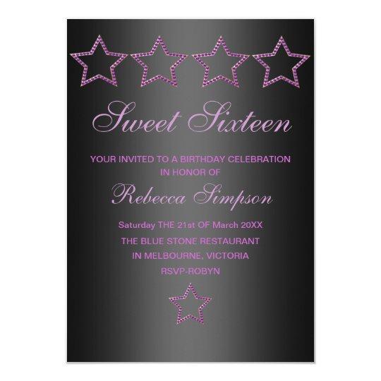 Purple/Black Jewel Star Sweet 16 Birthday Invite