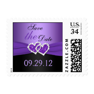 Purple, Black Joined Hearts Save the Date Postage
