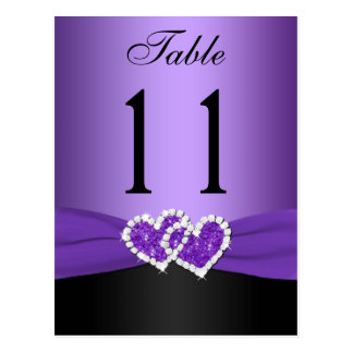 Purple, Black Joined Hearts Table Number Post Card
