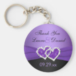 Purple, Black Joined Hearts Wedding Favor Keychain