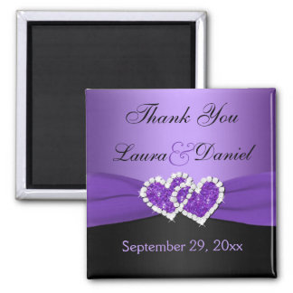 Purple, Black Joined Hearts Wedding Favor Magnet