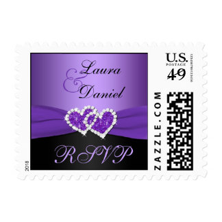 Purple, Black Joined Hearts Wedding RSVP Postage
