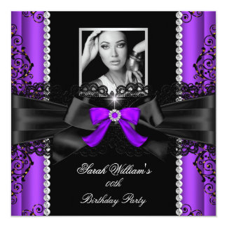 Purple Black Lace Photo Birthday Party Card