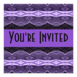 purple black lacey abstract 5.25x5.25 square paper invitation card