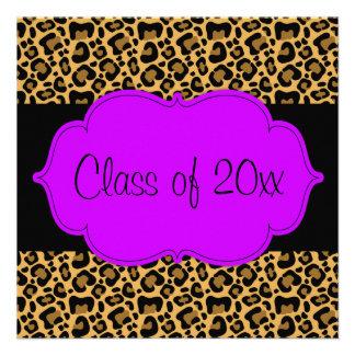 Purple Black Leopard Graduation Party Announcement
