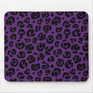 Purple Black Leopard Print Mouse Pad