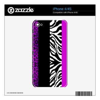 Purple Black Leopard & Zebra Custom Animal Print iPhone 4S Decal