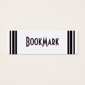 purple black lines bookmark mini business card