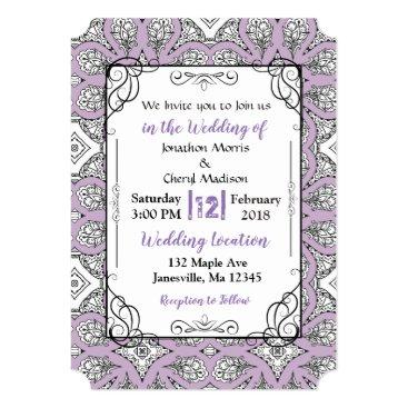 Wedding Themed Purple Black Mandala Wedding Invitations