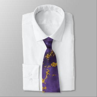 Purple Black Marble Faux Gold Glitter Pattern Neck Tie