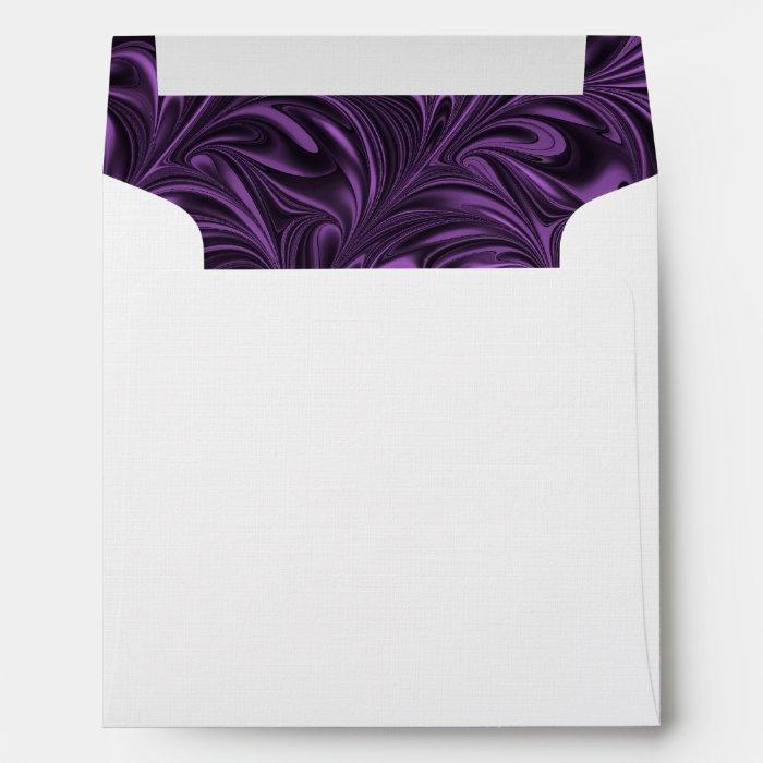 Purple Black Marbled Wedding Invitation Envelope