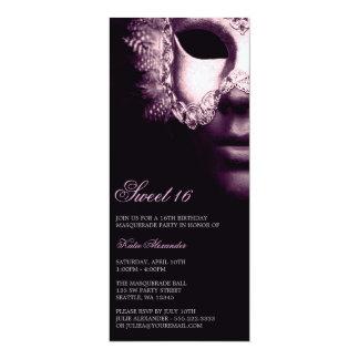 Purple Black Masquerade Sweet 16 Birthday Invites