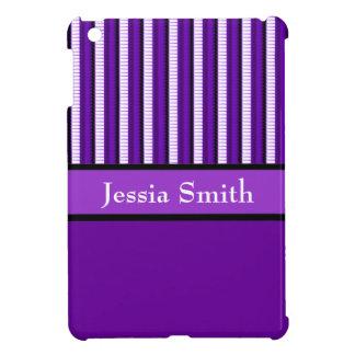 Purple black modern stripes iPad mini cover
