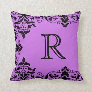 Purple & Black Monogram Damask Pillow
