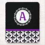 Purple Black Monogram Fleur de Lis Mousepad