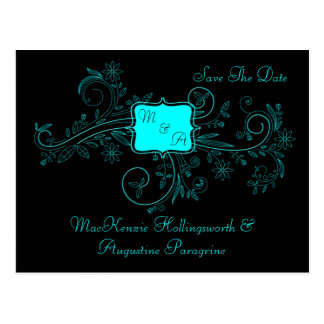 Purple Black Monogram Floral Swirls Save The Date Postcard