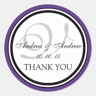 Purple Black Monogram V Wedding Thank You Classic Round Sticker