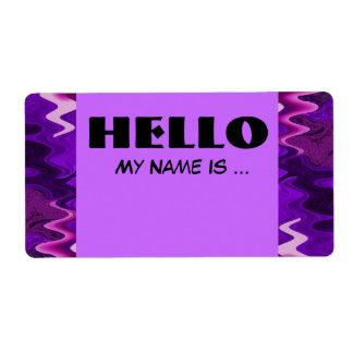 purple black name badge label